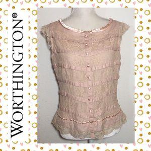 Worthington Cap Sleeve Lace Blouse